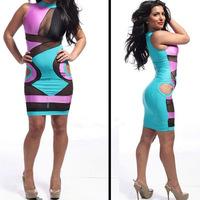 Hot sexy color stitching gauze bandage dress bodycon dress nightclub wear