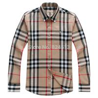 2014 Top selling men shirts bussiness Cassual long Fashion brand shirt dress 100% cotton man clothing slim fit men plaid shirts