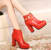 2014 autumn and winter genuine leather boots female fashion thick heel martin red boots high-heeled shoes