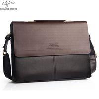 Vintage kangaroo kingdom genuine leather bag men briefcase  laptop business bolsa male brand handbags shoulder bag office bolsos