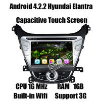 Glonass Android 4.2.2 Car DVD GPS for Hyundai Elantra 2014 Autoradios GPS+CPU 1G Mhz+RAM 1GB+ROM 8GB+3G Wifi Host+Dual Zone
