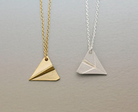 Paper Airplan Pendant Necklace - Available color as listed ( Gold, Silver )