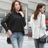 Black White Loose Renda Blusas Femininas Plus Size Batwing Long Sleeve Floral Cut Out Lace Crochet Women Tops Chiffon Blouse c73