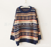 2014 Limited New Pullover Ancient Folk Style Fringe Pattern Splicing Love Hit Color Loose Sweater Round Neck Sleeve Head Honghe