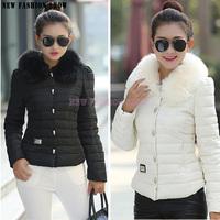 European fashion 2014 Autumn Winter Cotton-padded New Fur collar thicken Plus Size Short Jackets Women Coat Outwear Jacket 2028
