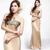 2014 New Sexy Women's Evening Dress Dance gowns Floral Prom Elegant Dress brides saree violetta kleider gown wedding dresses