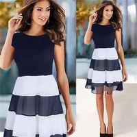 New Sexy Fashion Women dresses Slim Short-Sleeved round-neckline mini chiffon striped dress Evening party Dress Size S-XL