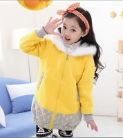 fashion children girls Solid candy color dot patchwork Hooded winter outwear clothes Casual kids Jacket with zipper flower 2014