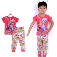 Wholesale 6 sets/lot for 2-7 years old  100% cotton kids pajamas short sleeve  sleepwear girls frozen pajamas X-552-10-22