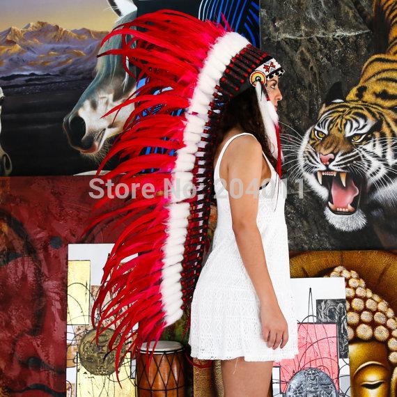 Sale Discount Cheap Extra Long War Bonnet Headdress Feather Indian Feather Headdress Native American Warbonnet(China (Mainland))