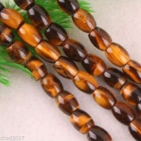 "wb 00229 8x12MM Tigereye Rice Loose Beads 15.5""new 5pc"