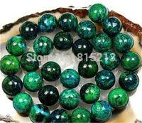 "wb 00233 8mm Round Azurite Chrysocolla Loose Beads 16"" 15 5pc"