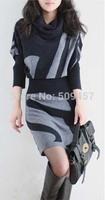 2013 Winter sweater with belt HENG YUAN XIANG women's sweater batwing sleeve slim hip pullovers sweater long sweater dress gray