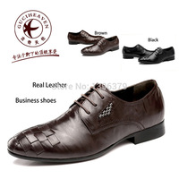 Top Quality 2014 Spring Autumn Cowhide Genuine Leather Men Business Leisure Brogue Oxfords Shoes,Guciheaven 5675 Black Brown