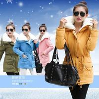 new wave red black fur collar short jacket 2014 new slim winter jacket female Korean  Long down jacket women