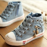 Children Shoes Spring 2014 classic water wash denim high skull Children shoes Boys shoes girls Euro size 25-37 Three colors YiX