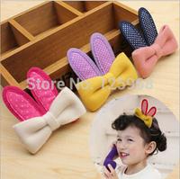 Free Shipping,2014 New Wholesale Girls Cartoon Rabbit Ear Bows Hair Clips Children Girls Bowknot Hairclips Kids Hair Accessories