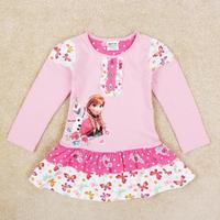 Nova Brand New Arrival Frozen Dress For Baby Girl Princess Anna Frozen Party Dress Autumn Girls Lovely Floral Dress