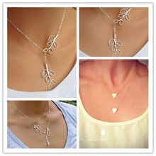 Europe Triangle Branch Leaves Choker Chunky Statement Pendant Necklace Jewelry