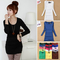 2014 New Autumn Women T-shirt Long sleeve candy color women's t-shirts o-neck long blouse tops # 806