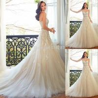 2015 Fashionable Sweetheart Lace Appliques Pearls Sash Long Court Train Wedding Dresses Brides Dress For Weddings Vestido