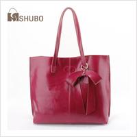 SHUBO Genuine Leather Tote 2014 Fashion Vintage Big Bags Women Cowhide Handbag Shoulder Bags Shopping Bag Bolsas Femininas SH105