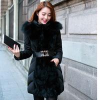 2014 New Style Winter Raccoon Fur Collar  Women's Goose Down Parkas Warm Plus Size Coat Fashion Wave Jacket Free Shipping