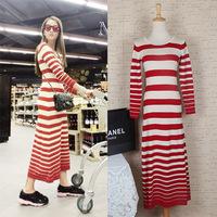 Brand Autumn dress long style Striped dress winter women dress