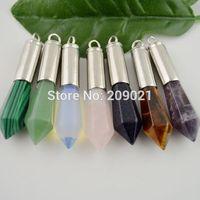 10pcs Agate Opal Quartz Amethyst Turquoise Jade Healing Chakra Stone Pendant Charms