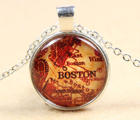 Retro Boston Map Glass Cabochon Silver Plating Slide Pendant Necklace Handmade Glass Dome Jewelry Gift
