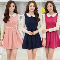 Dropshipping!2014 Autumn dress  Women dress Slim long sleeve dress lace