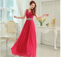 2014 New Arrival Sleeveless Bridal Evening Prom Dress Luxury Elegant Long Dress 5 Colors Free Shipping 22001