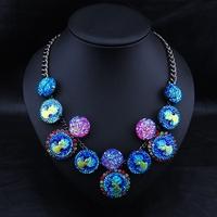 Wholesale Brand Jewelry Fashion  Women Bijoux Necklace Vintage Colorful Colares Femininos Statement Collar Necklace
