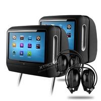 "XTRONS Black 2x9"" Digital Touch Screen Detachable Headrest DVD player Game with 2 IR Headphones"