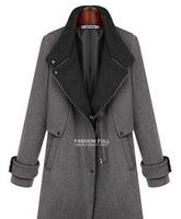 2014 New Fashion plus size long sleeve slim coat long bi-fold wallets thicken belt collar wool coat hot Free shipping