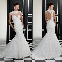 Vestidos De Noivas 2014 Sexy High Neck Illusion High Back Cap Sleeve Open Back Mermaid Wedding Dresses Vestido De Noiva Sereia