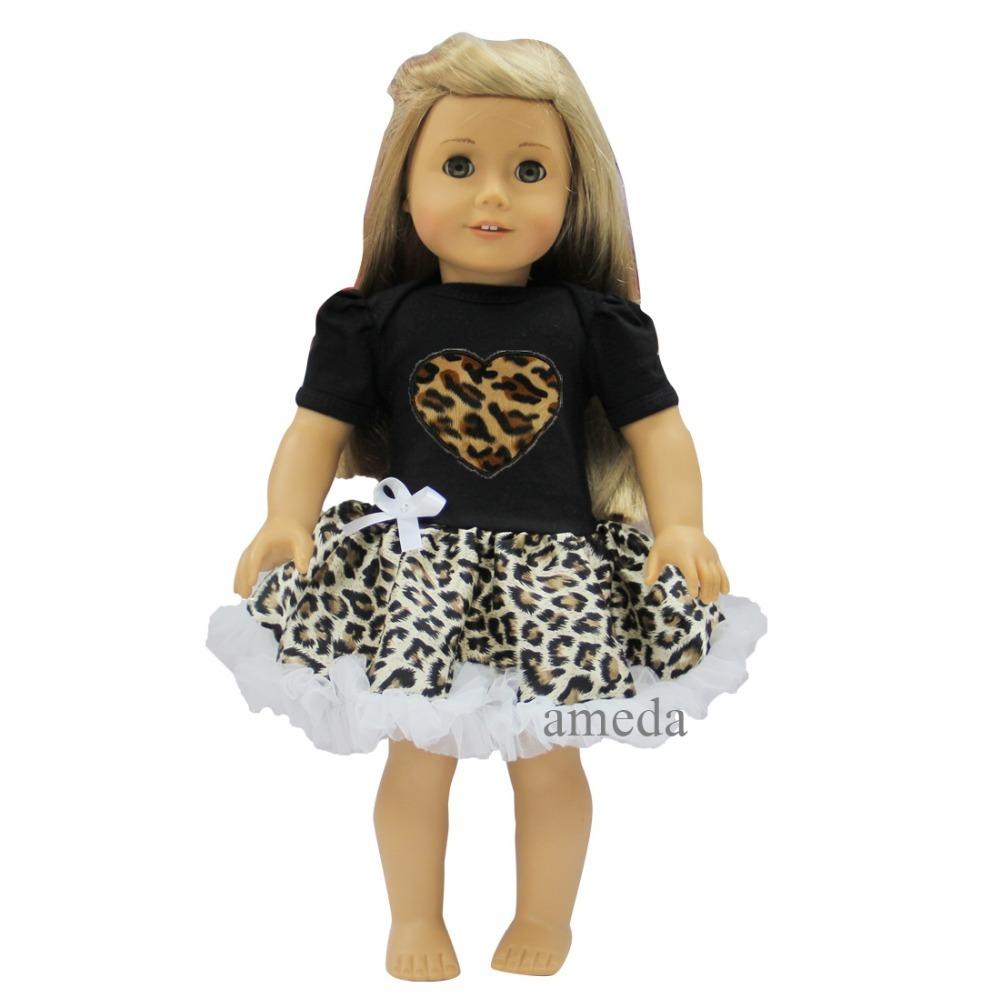 "18"" American Girls Doll Black Leopard Heart with Black Leopard Tutu Pettiskirt Party Dress(Hong Kong)"