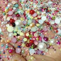 2000pcs/lot,30gram Mix sizes  Mix colors Half Round Pearls For Nail Art & phone DIY Craft