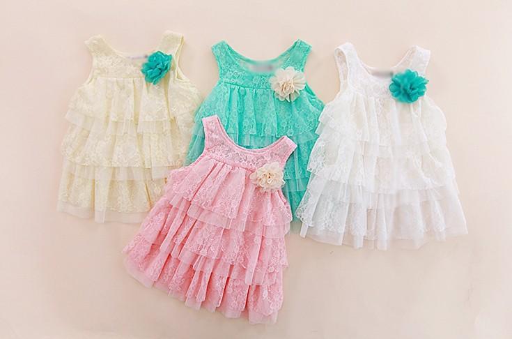 2014 infant baby girls lace dresses children clothing for autumn -summer kids princess flower tutu dress 4colors pink cake dress(China (Mainland))