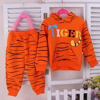 Autumn & Winter Girls Clothing Sets Tiger Pattern 100% Cotton Hoody & Pant Long Sleeve Kids Clothes Sets Conjunto De Roupa WB-15
