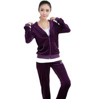 2014 early autumn new sweater thin velvet leisure sports suit