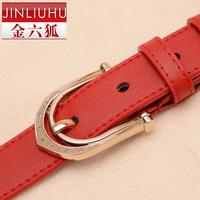 Gold strap Women genuine leather belt female cowhide strap thin belt women's casual all-match red waist belt