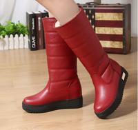 Women's boots winter heavy-bottomed waterproof snow boots women's winter warm cotton shoes women PU leather boot