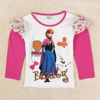 Frozen  Anna Girl T Shirt Autumn Long Sleeve T Shirt Girl Kids Printed Frozen Cartoon Shirt For Girl
