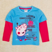 Kids baby wear Peppa pig Boys t shirt Nova Brand children long sleeve t shirt for boy kids A5291Y