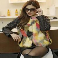2014 Women Faux Fur Vest Winter Long Vest Sleeveless Luxury Fur Coat Free Shipping Big Size Slim Fur Vest