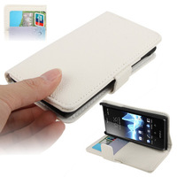White Litchi Texture Horizontal Flip Soft Leather Case with Holder & Credit Card Slots Wallet for Sony Xperia J / ST26i