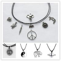 Fashion Choker Necklace On Adjustable Black Leather Cord Charm Tibetan Silver Pendant  Handmade Antique Dangling Charm