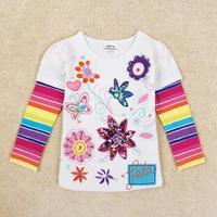 Nova Brand Kids Baby Wear  Girls T-Shirts Printed Cartoon Striped Girls Tops Casual Girls Shirt