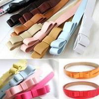 Children Candy Color Belt Girls/Boys Double Bow Thin Waist Belt Kids Pu Leather Belt